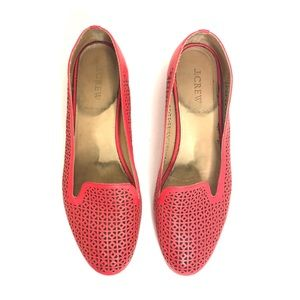 Jcrew Red Orange Perforated Cut Out Flat Loafers